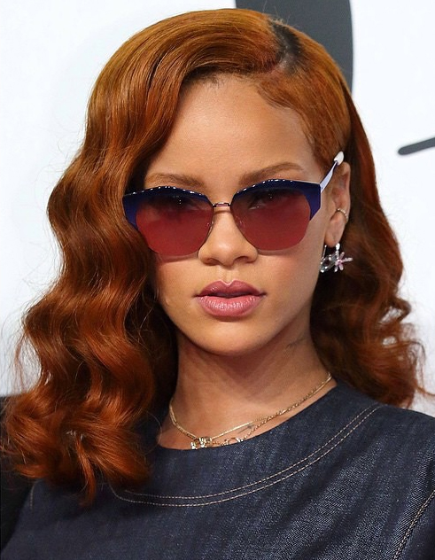 rihanna red hair color 2015