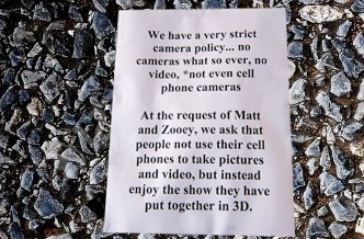 Cell phone policy at concerts