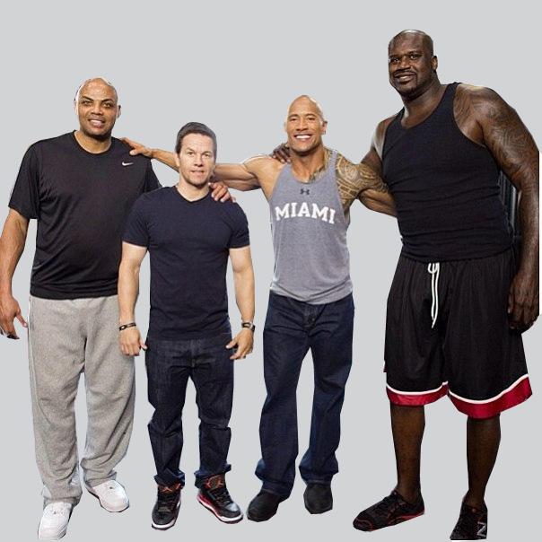 Dwayne Johnson, Shaq, Charles Barkley, Mark Wahlberg