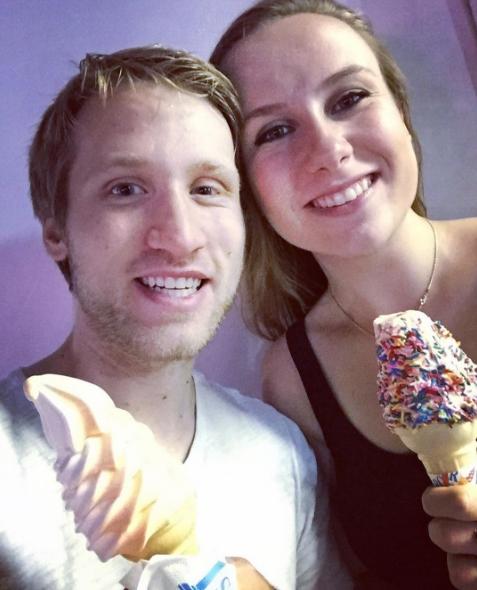 Jesse Ridgway and his girlfriend eating ice cream